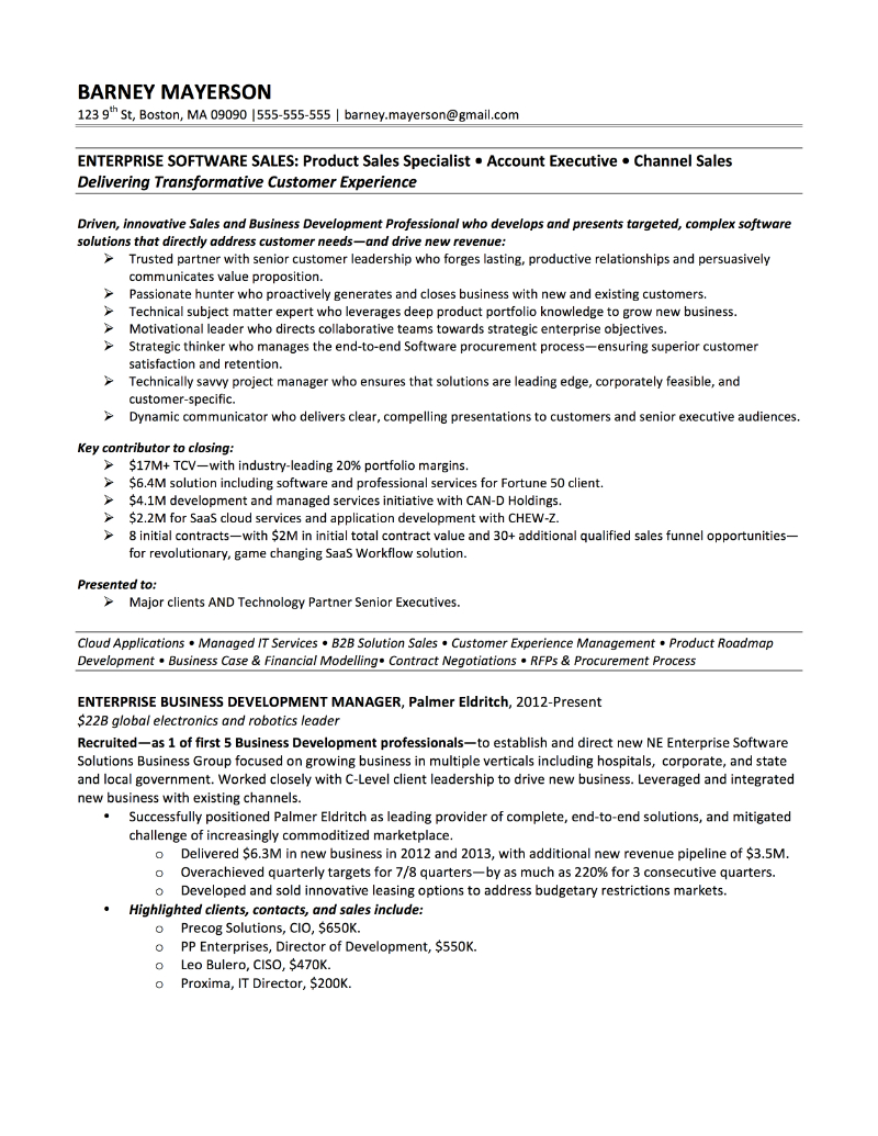 Enterprise Software Account Manager Sample Resume U2013 Barney Mayerson  Good Sales Resume Examples