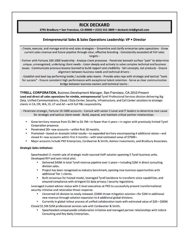 VP Software Sales Resume Sample U2013 Rick Deckard  Vp Sales Resume