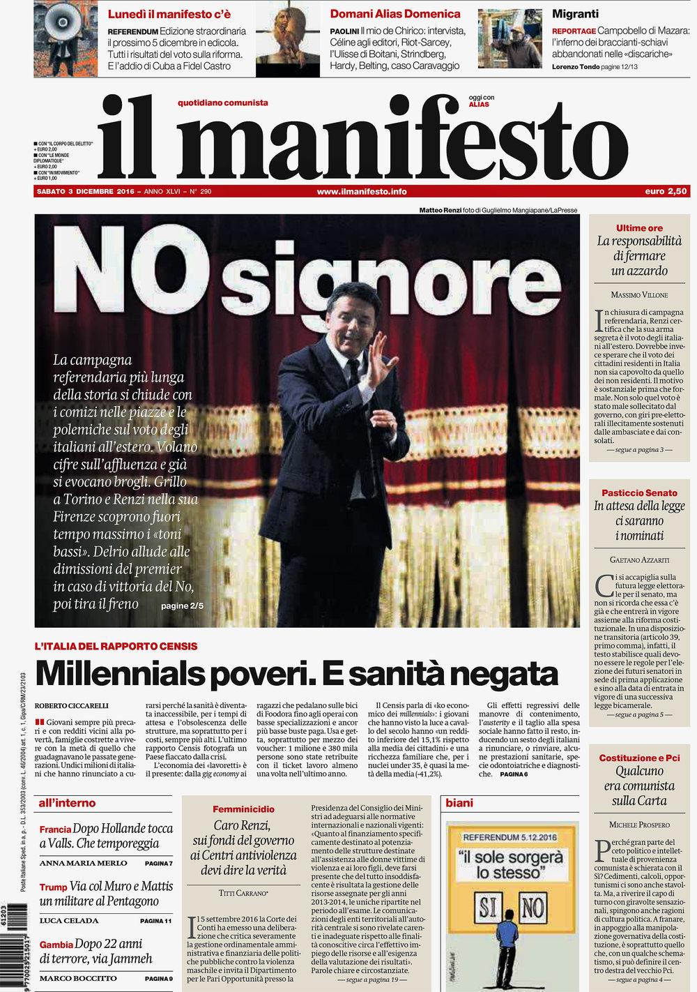 Il Manifesto — December 3, 2016