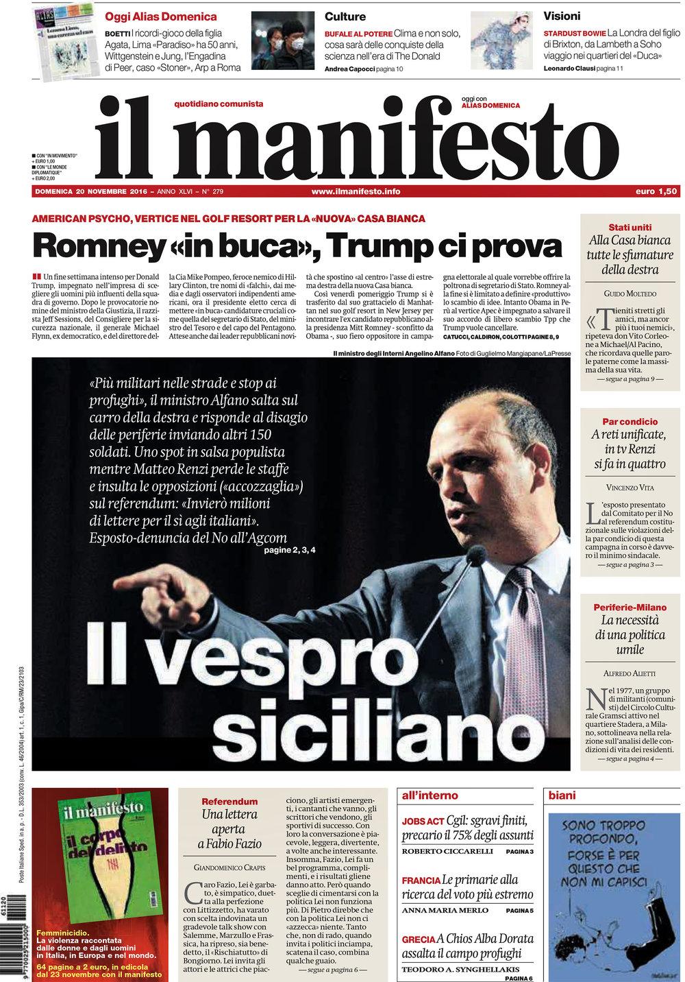 Il Manifesto — November 20, 2016