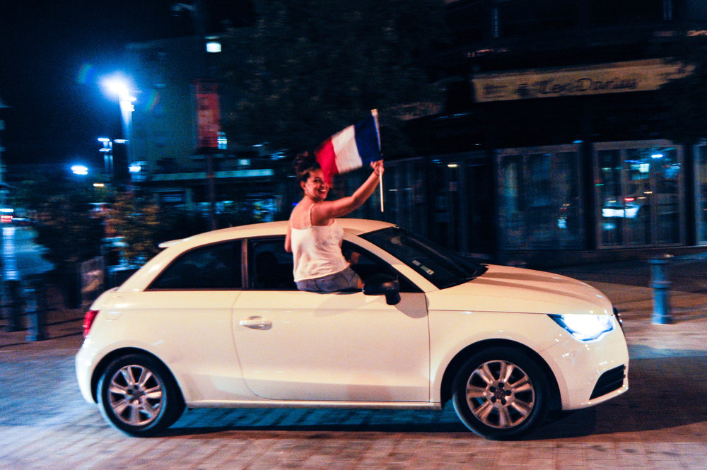 France fans celebrate after France win the World Cup, in Aix-en-Provence, France, July 15, 2018.