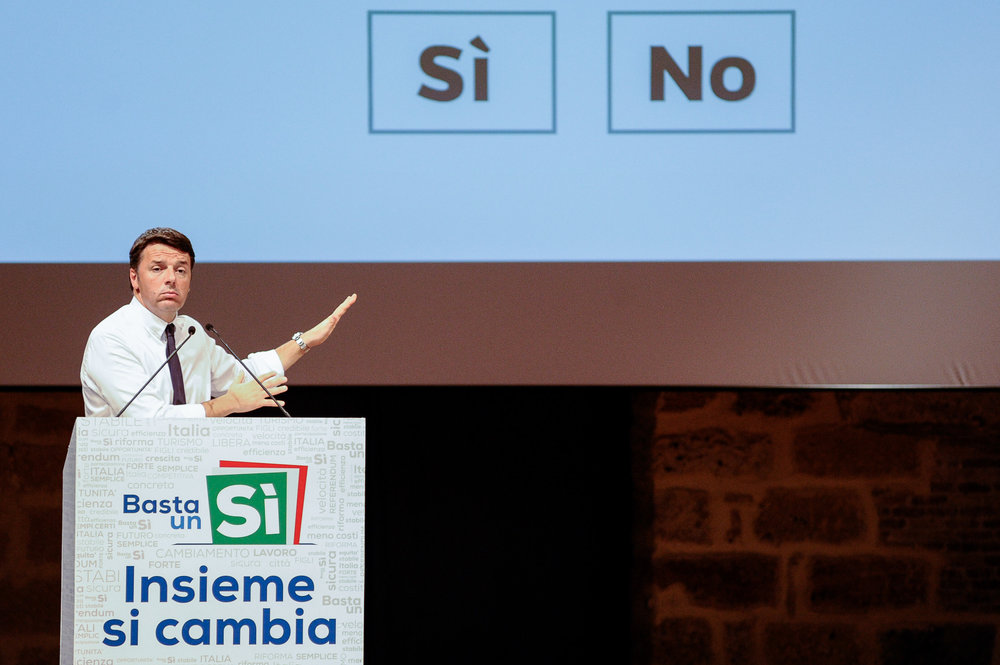 Italy's Prime Minister Matteo Renzi gestures as he speaks during a rally in support of the constitutional referendum in Palermo, southern Italy, October 21, 2016.