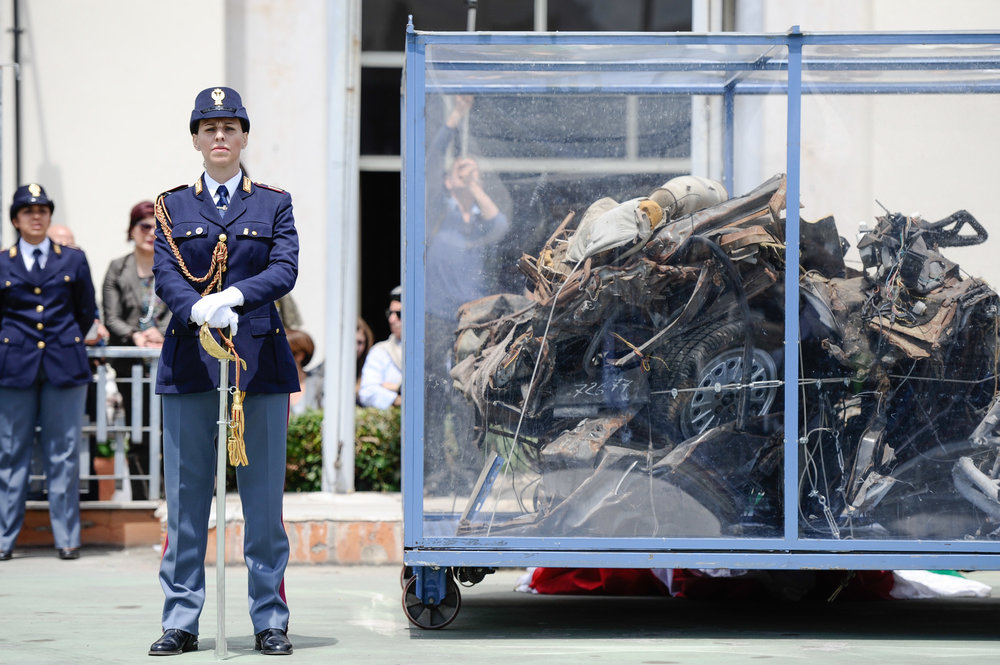 The car of judge Giovanni Falcone's bodyguards Rocco Dicillo, Vito Schifani and Antonio Montinaro who died in the bomb attack on May 23,1992 is displayed at the Lungaro police station in Palermo, Italy, May 21, 2017.