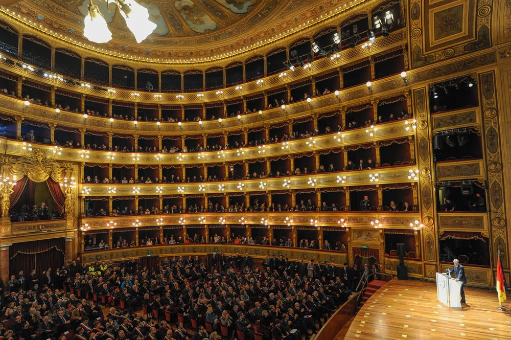 Italian Prime Minister Paolo Gentiloni speaks during the inauguration of Palermo Italian capital of culture for the year 2018 at the Massimo Theatre in Palermo, Italy, January 29, 2018.