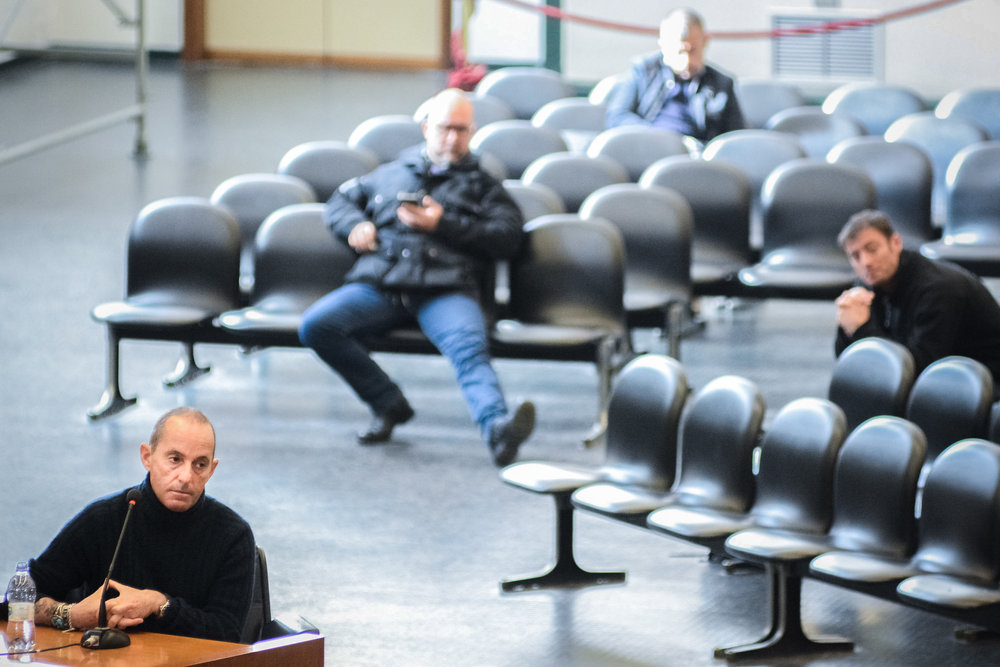 Massimo Ciancimino testifies in alleged state-mafia pact trial at the Ucciardone prison's bunker-courthouse in Palermo, Italy, February 4, 2016.