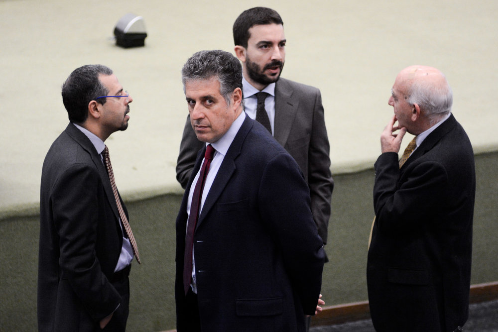 Prosecutors Francesco Del Bene (L), Antonino Di Matteo (CL), Roberto Tartaglia (CR) and Vittorio Teresi (R) arrive for the alleged state-mafia pact trial at the Ucciardone prison's bunker-courthouse in Palermo, Italy, February 4, 2016.