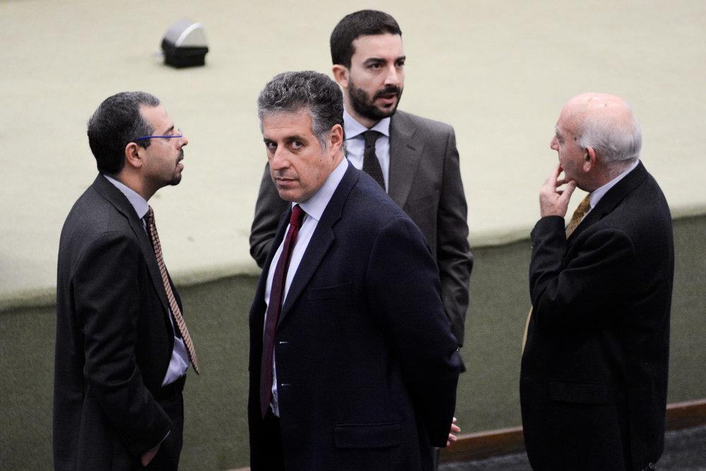 Prosecutors Francesco Del Bene (L), Antonino Di Matteo (CL), Roberto Tartaglia (CR) and Vittorio Teresi (R) arrive for the alleged state-mafia pact trial at the Ucciardone prison's bunker-courthouse in Palermo, Italy, February 4, 2016.