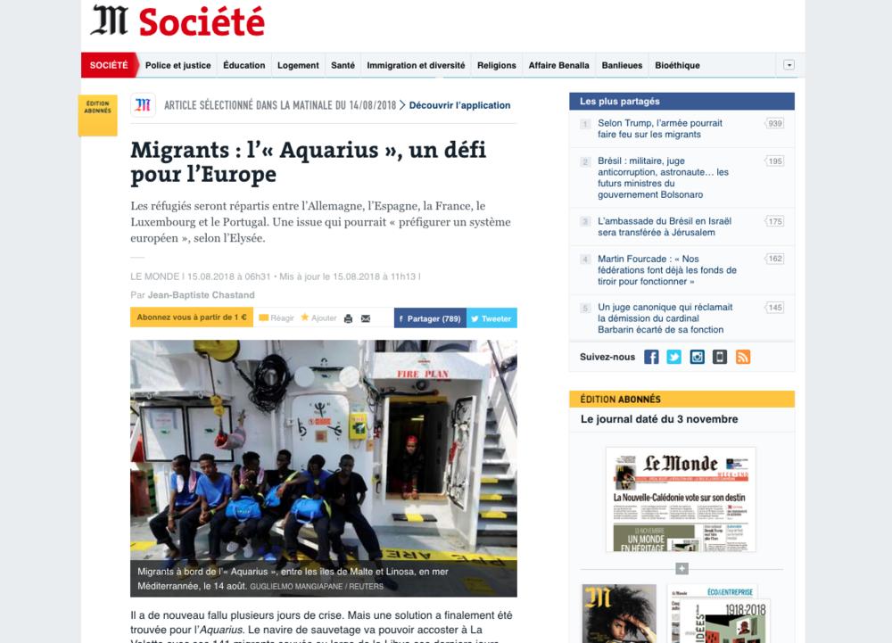 Le Monde — August 15, 2018
