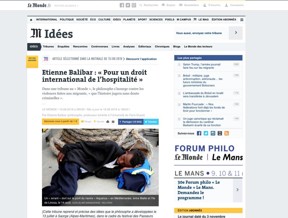 Le Monde — August 16, 2018