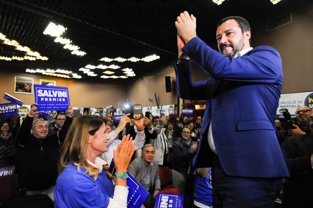 Northern League's leader Matteo Salvini greets supporters during a rally for the regional election in Palermo, Italy, October 29, 2017.