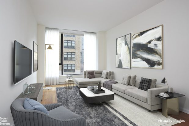 Virtual furnishings lend a hip feeling to this Hudson St. pad.