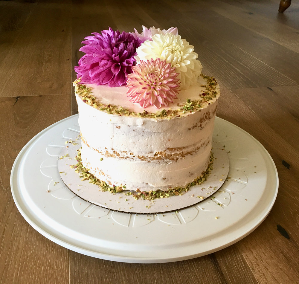 Pistachio Cake With Roasted Plum Buttercream Delectably Mine