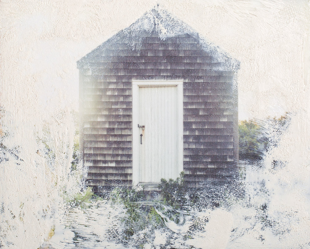 Cape Cod Shed, Photo Encaustic and white pigment.