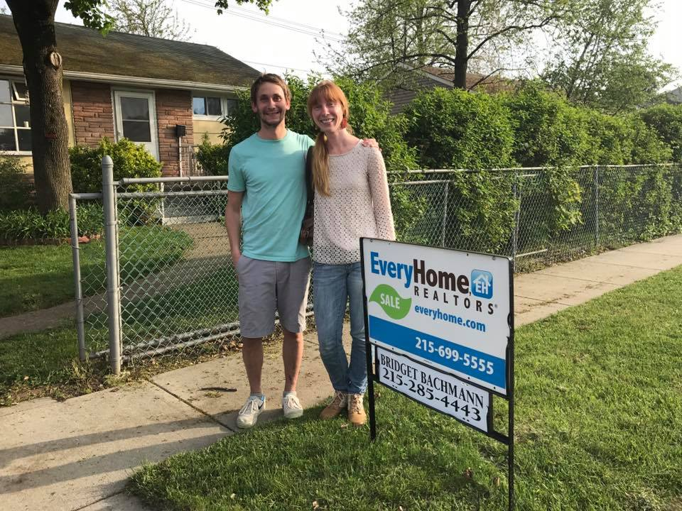 Andrew and I in front of our first home, 4606 Brookside Ave