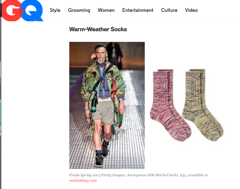 AnonymousIsm socks in GQ! Thanks guys. We love wearing socks and sandals as well.