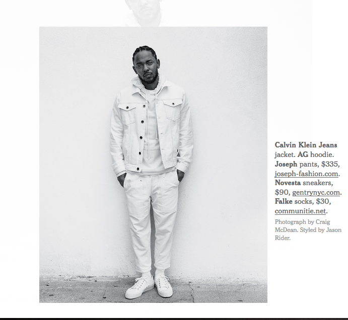 Kendrick Lamar in the New York Times wearing Novesta