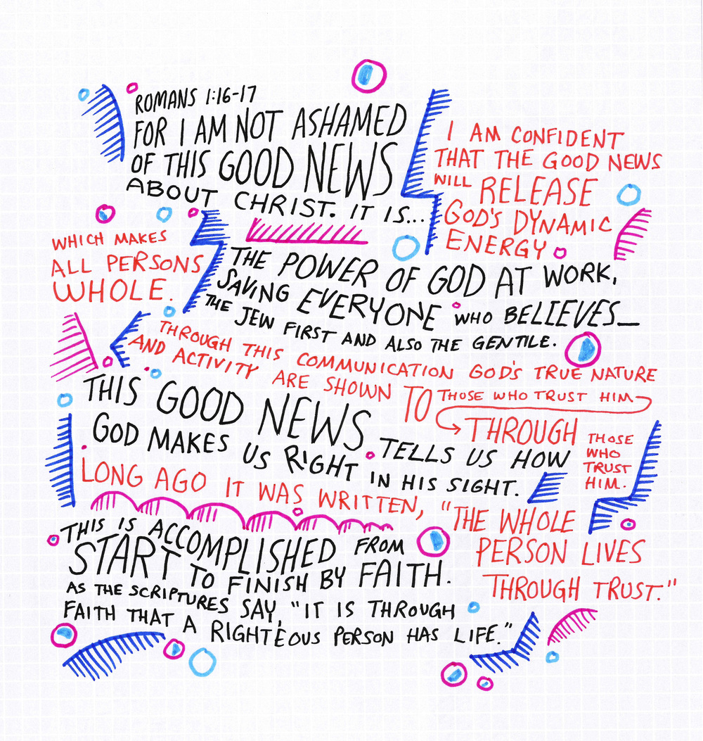 Drawing of Romans 1:16-17