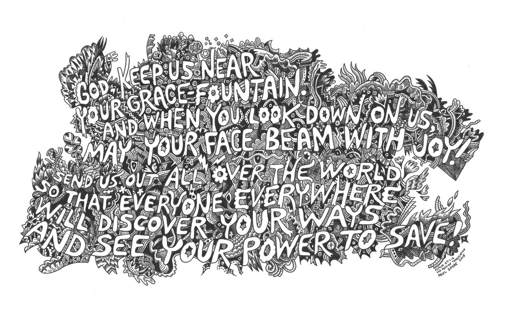 An ink on paper drawing with Psalm 67:1-2 verses.