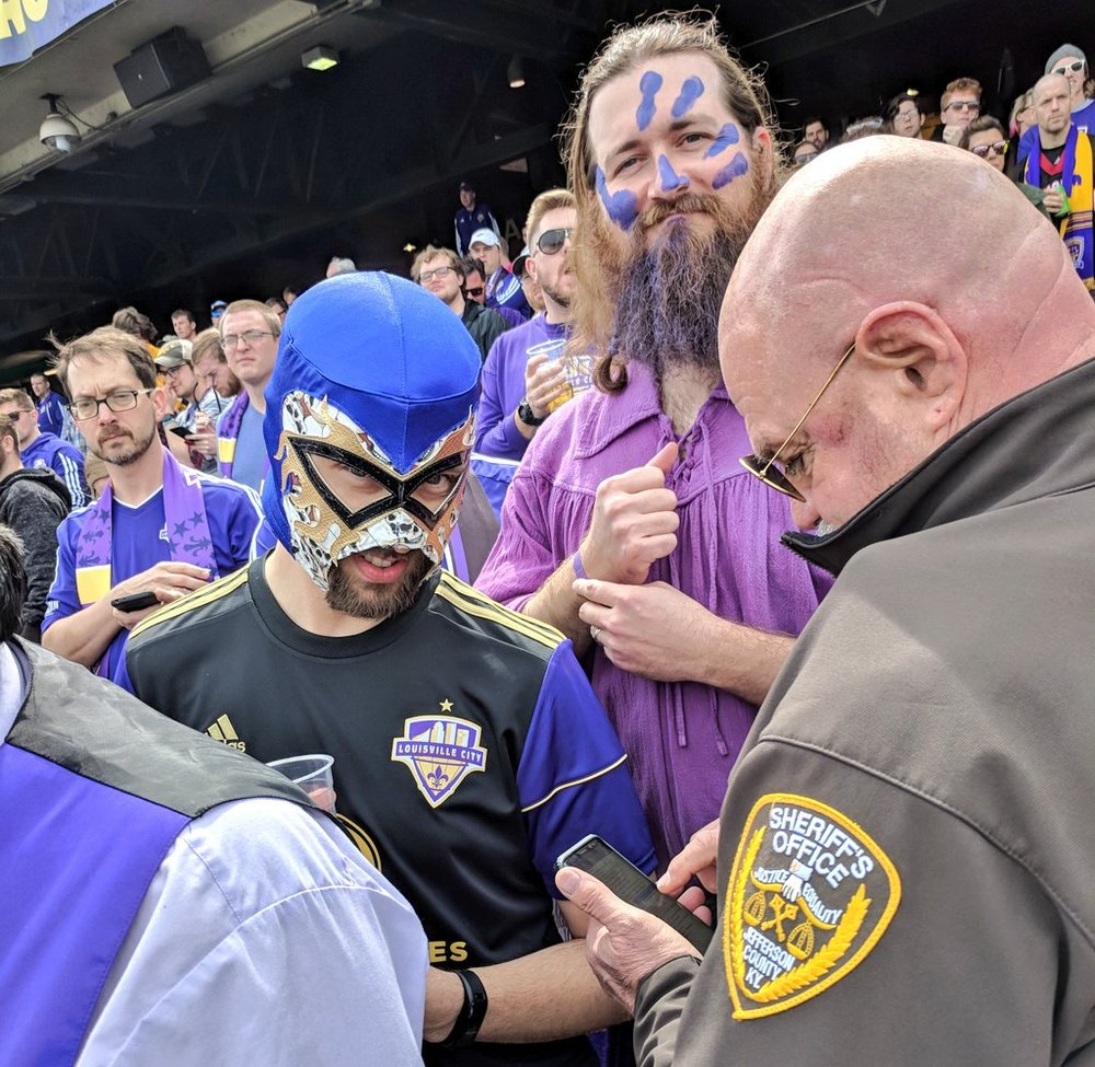 Louisville is a city so synonamous with fun that they sent cops into the stands to write tickets for anyone wearing a mask or facepaint.   Seriously