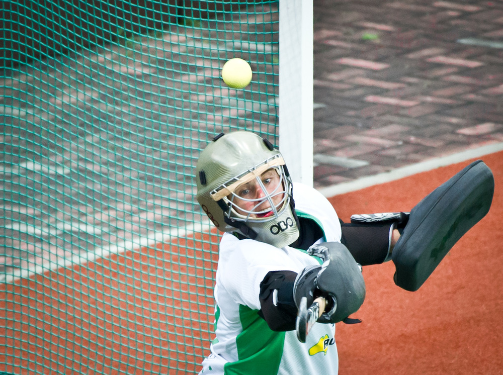 An Australian goal keeper looks on as the ball passes her during the TPG international tri series hockey match at the Sengkang Sports Complex.