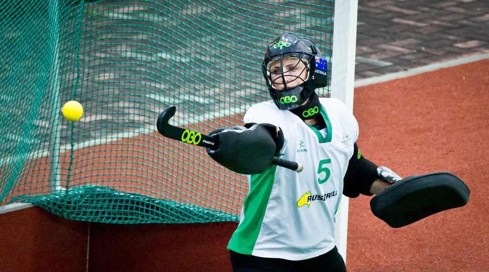 An Australian Goalkeeper looks on as the ball passes her during the TPG international tri series hockey match at the Sengkang Sports Complex.
