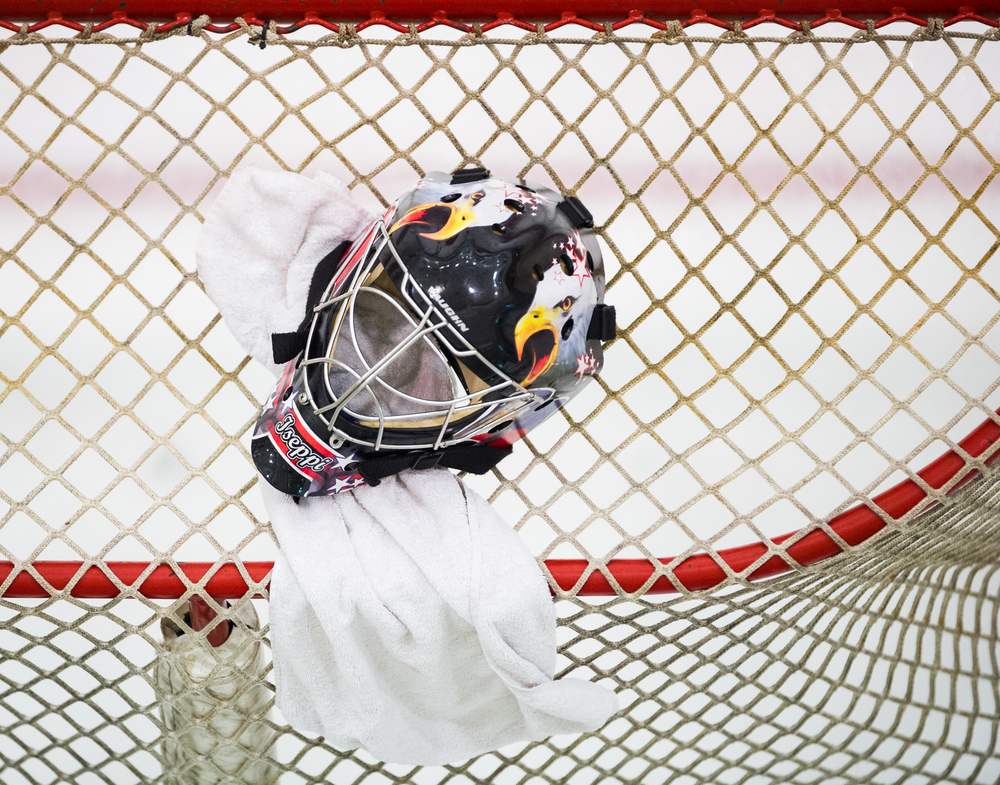 A mask on the goal during the Lion City Cup at the Rink.