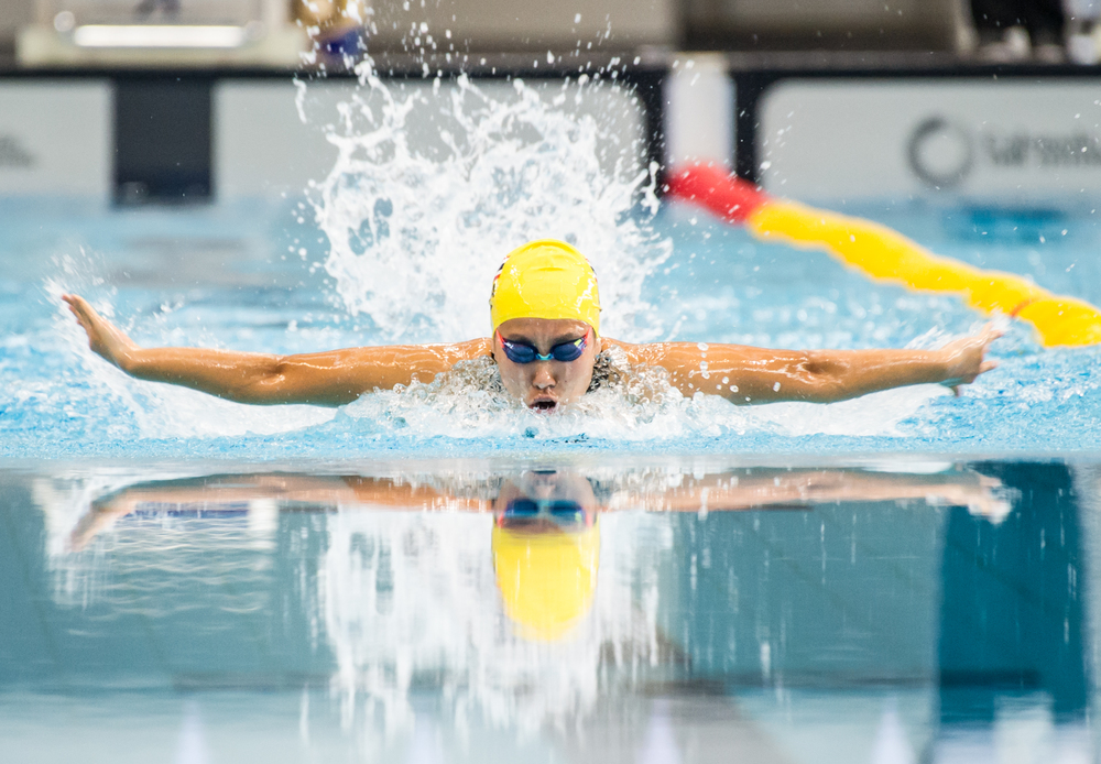 A Thai swimmer in action during the swimming competition of the ASEAN University Games at the OCBC Aquatic Centre.