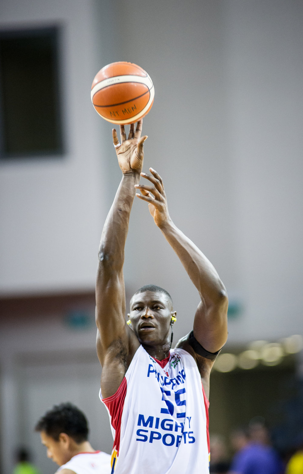 A Phillipines player takes a shot in warm up during the Merlion Cup basketball competition at the OCBC Arena.