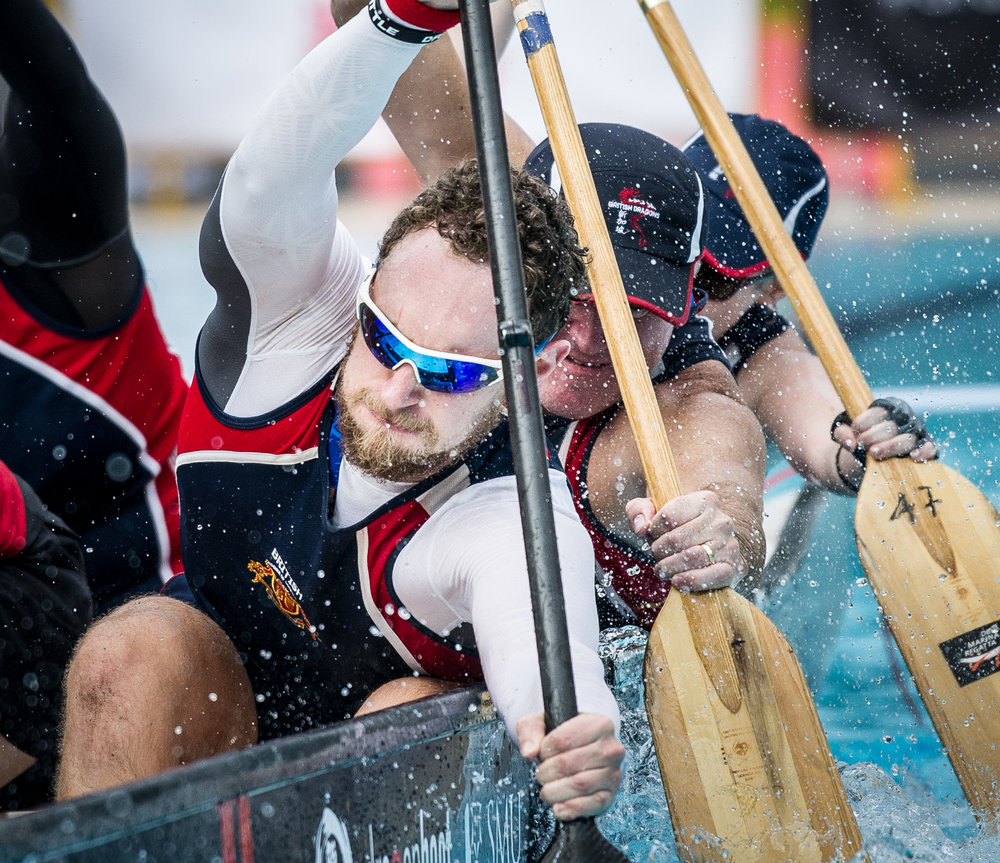 British paddlers paddling during the Dragon Battle Asia competition at the Orchid Country Club.