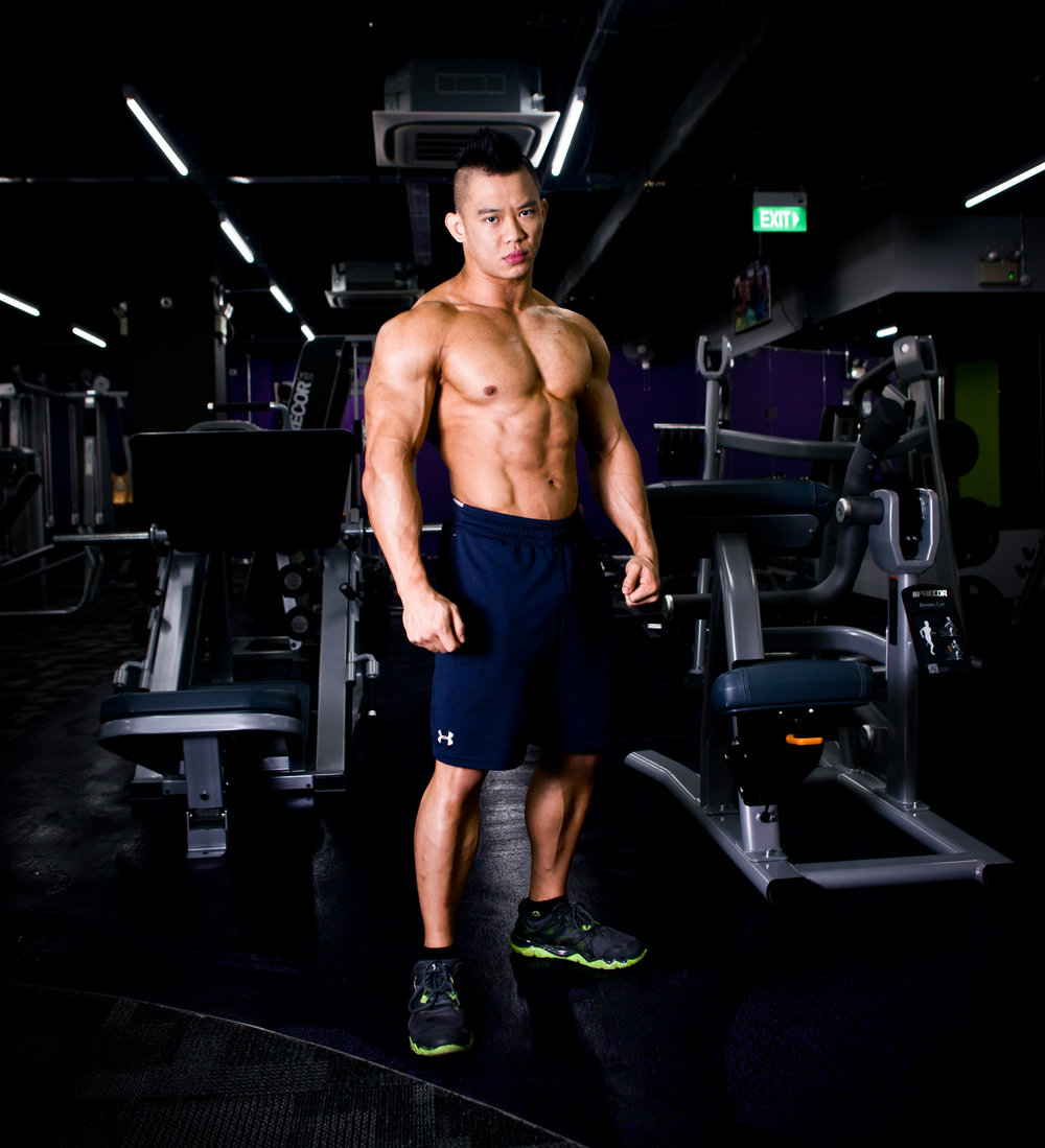 A Malaysian Body Builder in the Gym.