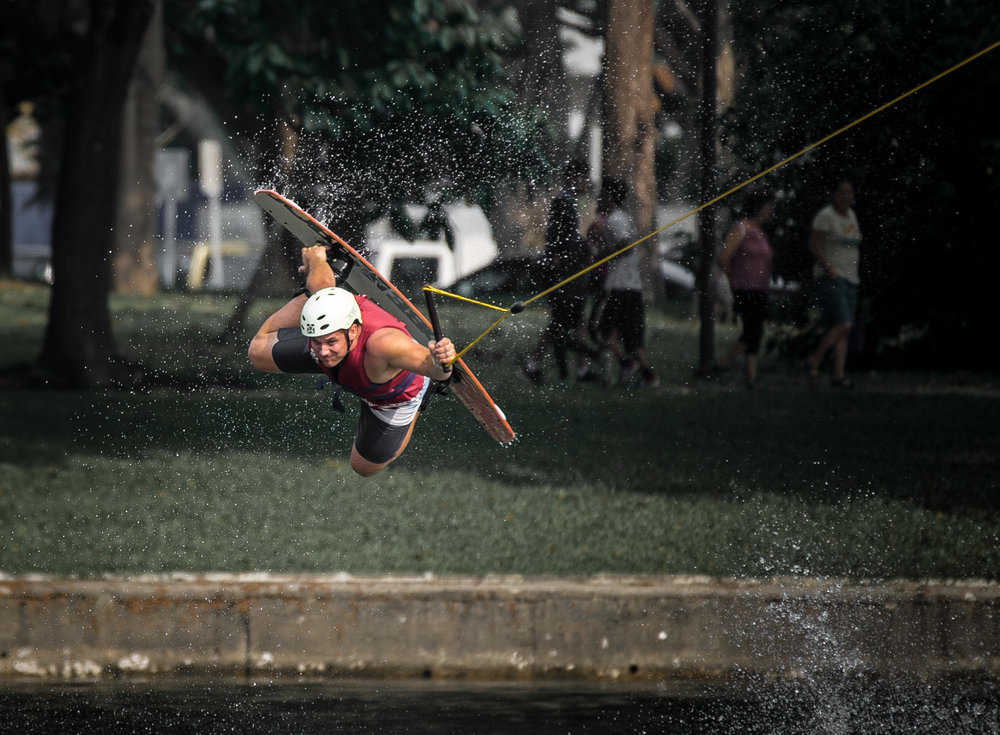 A wake boarder jumps in training at the Singapore Wake Park.