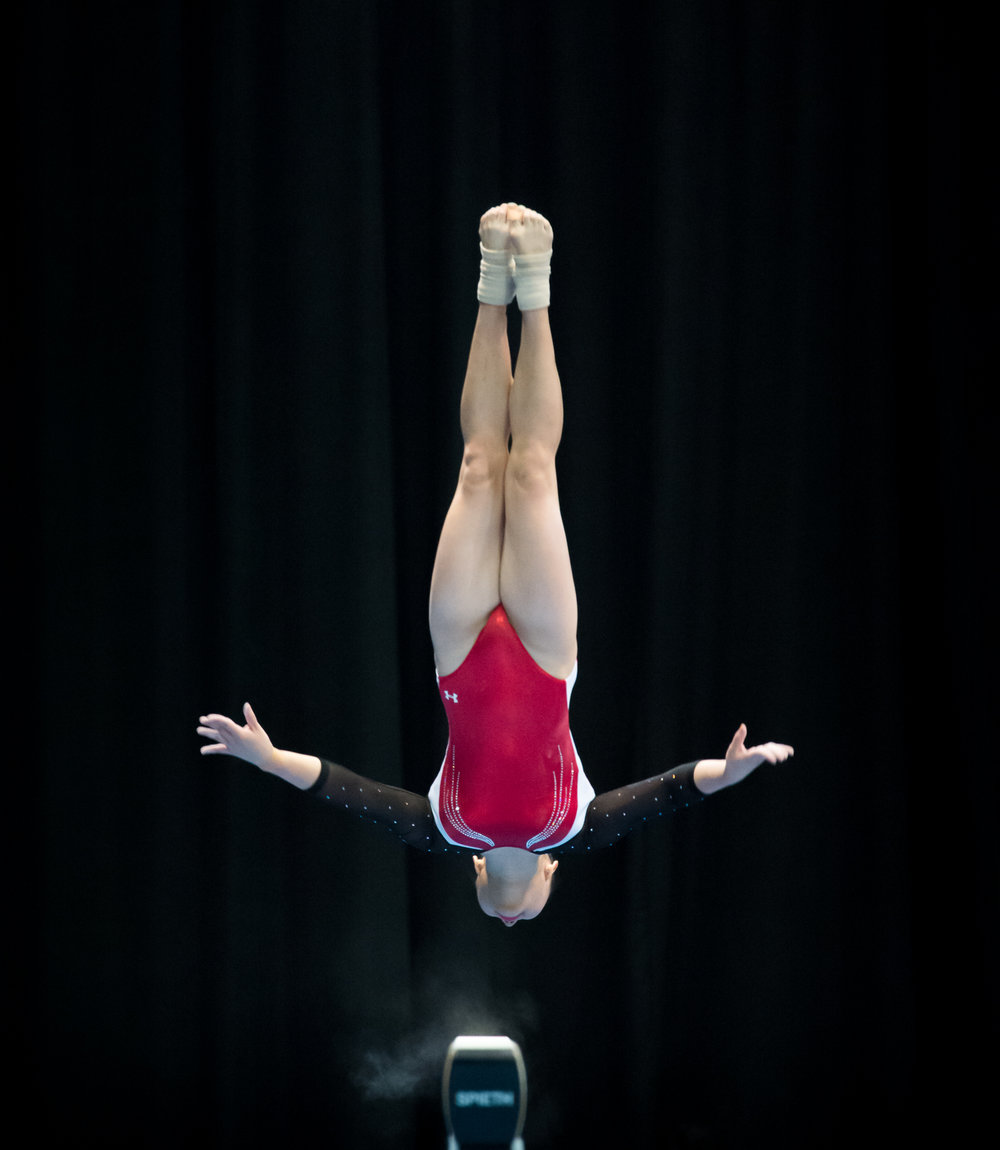 A Singaporean gymnast in action during the SEA Games at the Malaysian International Trade and Exhibition Centre.