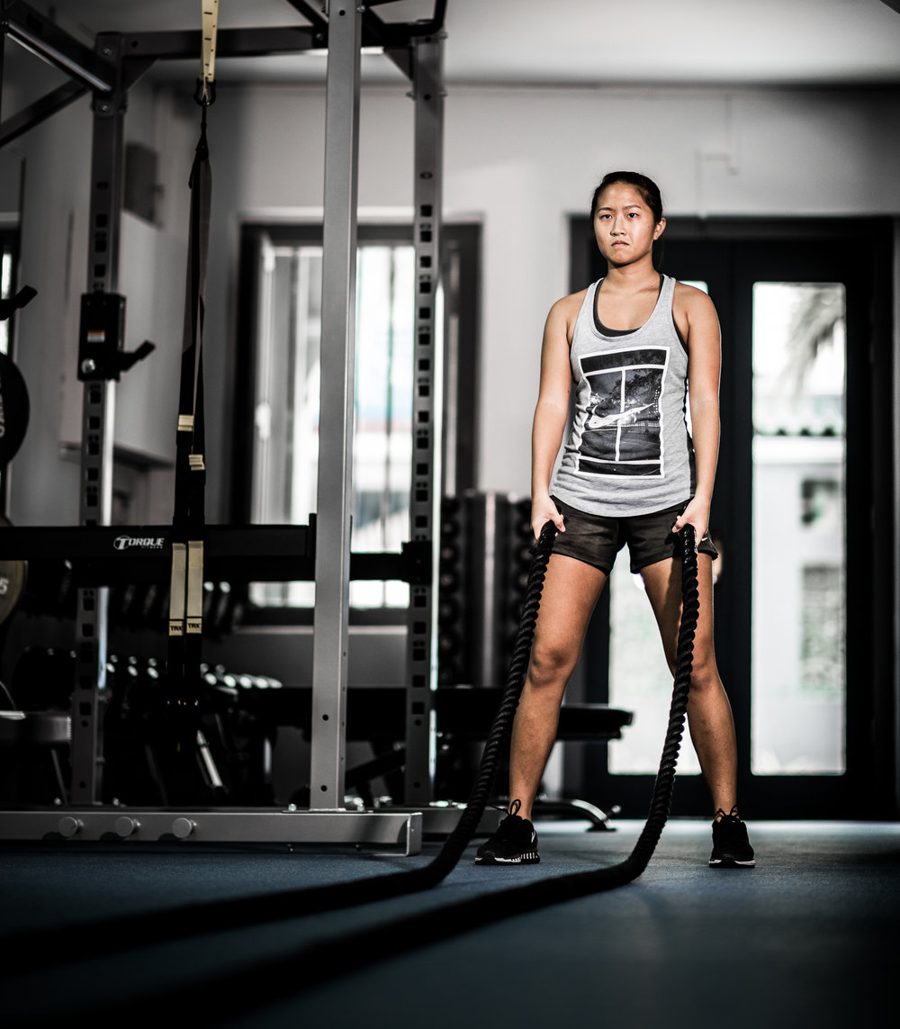 A Singapoean Tennis Player in the Gym.