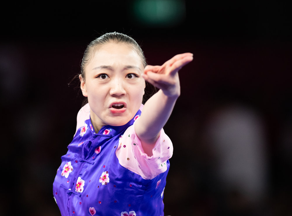 A Chinese wushu exponent during her Women's Jianshu event of the Asian Games at the Jakarta International Expo.