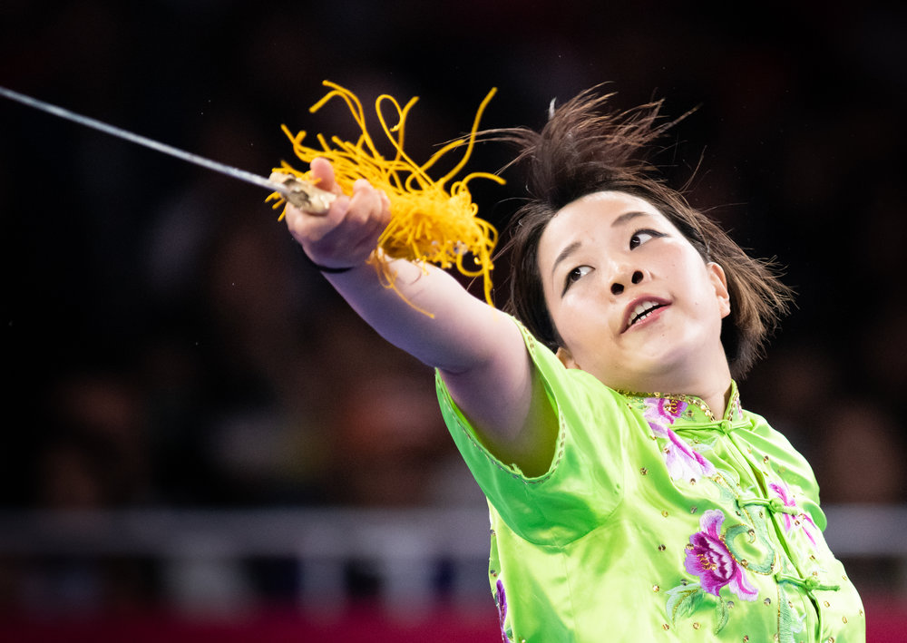 A Japanese wushu exponent during the Women's Jianshu event of the Asian Games at the Jakarta International Expo.