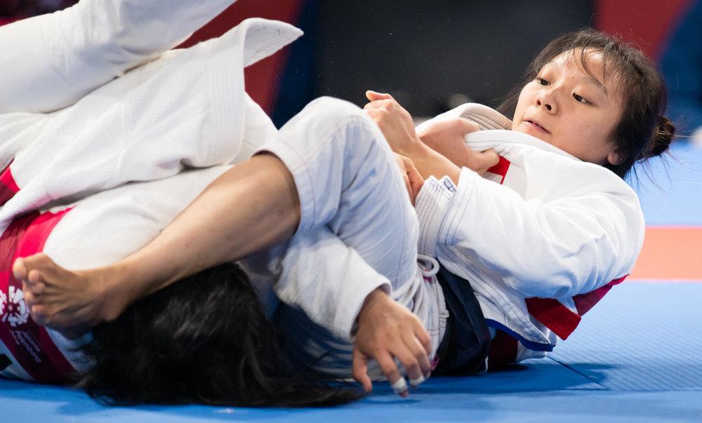 A Singaporean Jiu Jitsu exponent during the Asian Games at the Jakarta Convention Centre.
