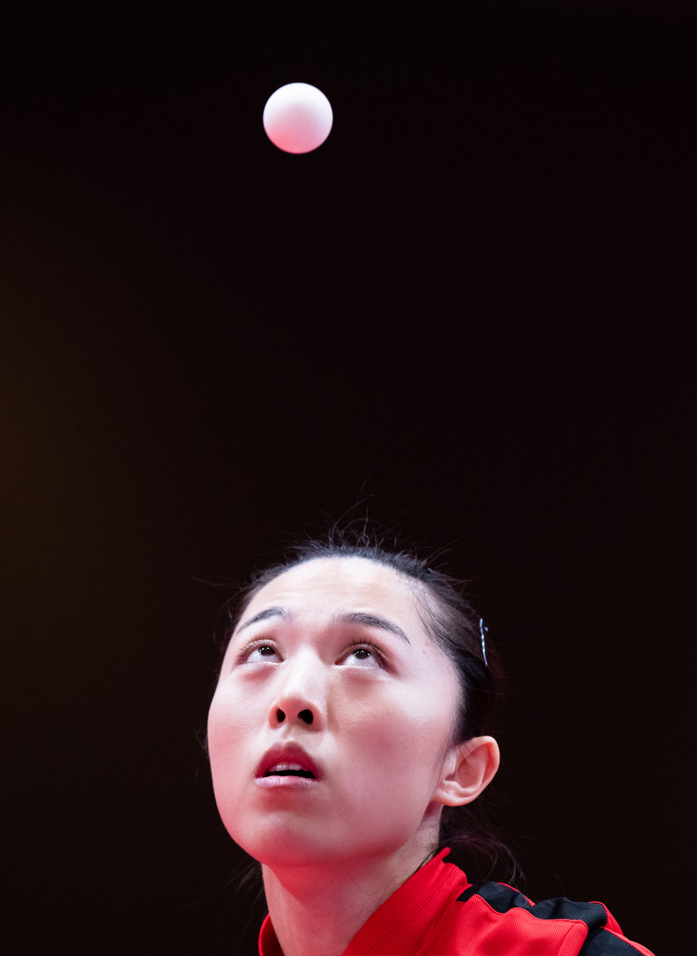 A Singaporean Table Tennis player watches the ball during the Asian Games at the Jakarta International Expo.