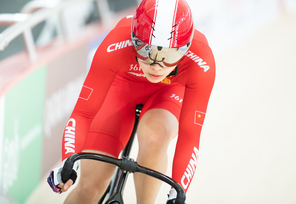 A Chinese cyclist during the Asian Games at the Jakarta Velodrome.
