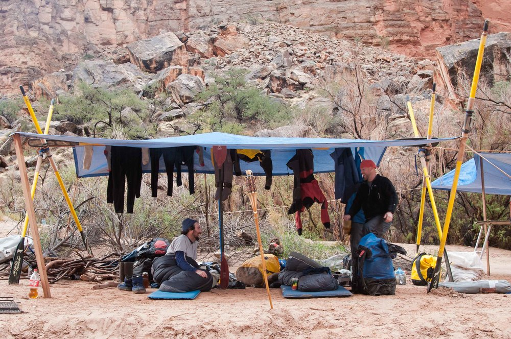 Gear is hung to dry after a long day of paddling in the Canyon.