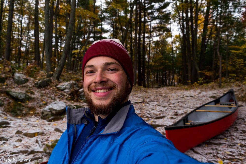 Noah Korne soloing in Kawartha Highland Provincial Park