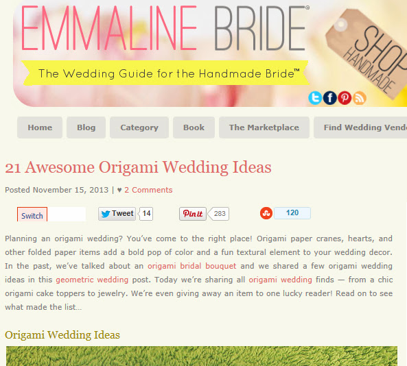 http://emmalinebride.com/themes/origami-wedding-ideas/