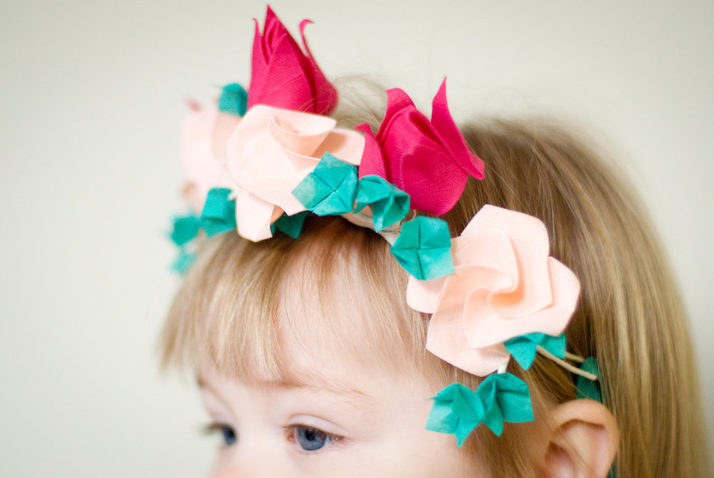 textile origami flower crown flowergirl origami tulips roses and hydrangea