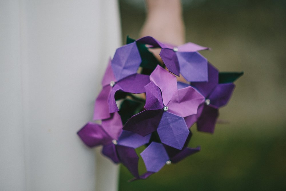 Purple Silk Violets, Origami Bridal bouquet