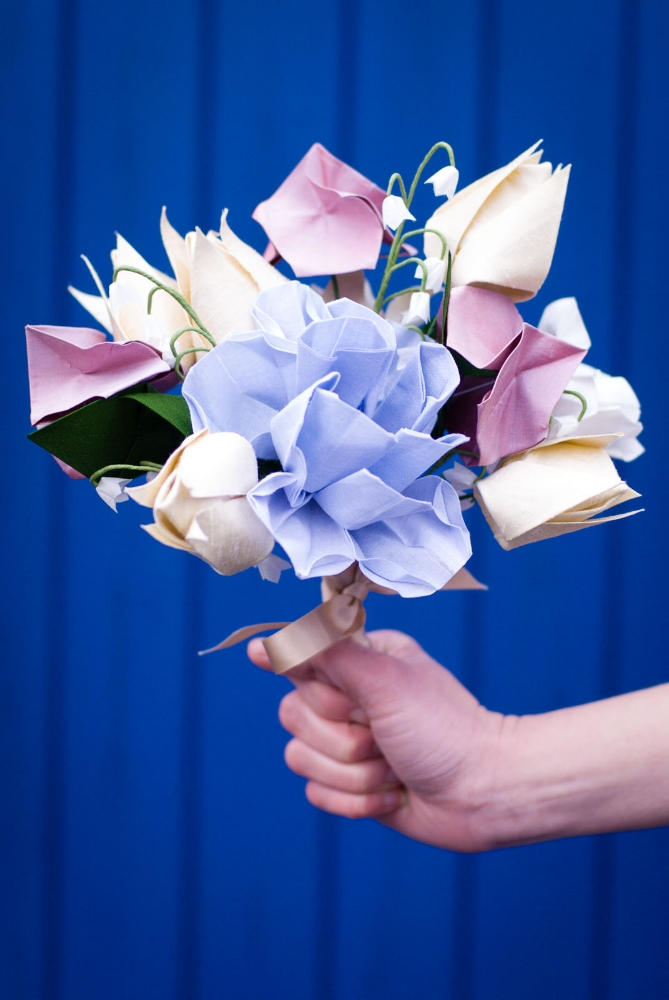 Cotton and Silk Origami Bridal Posy