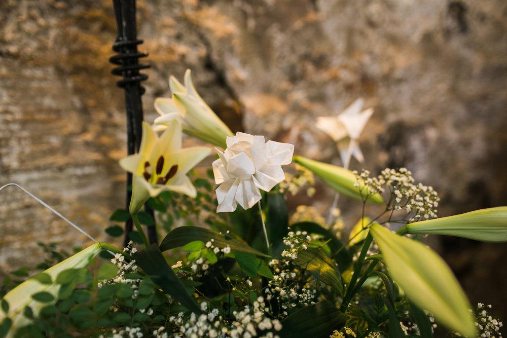 Kinkell Byre Venue flowers, Origami