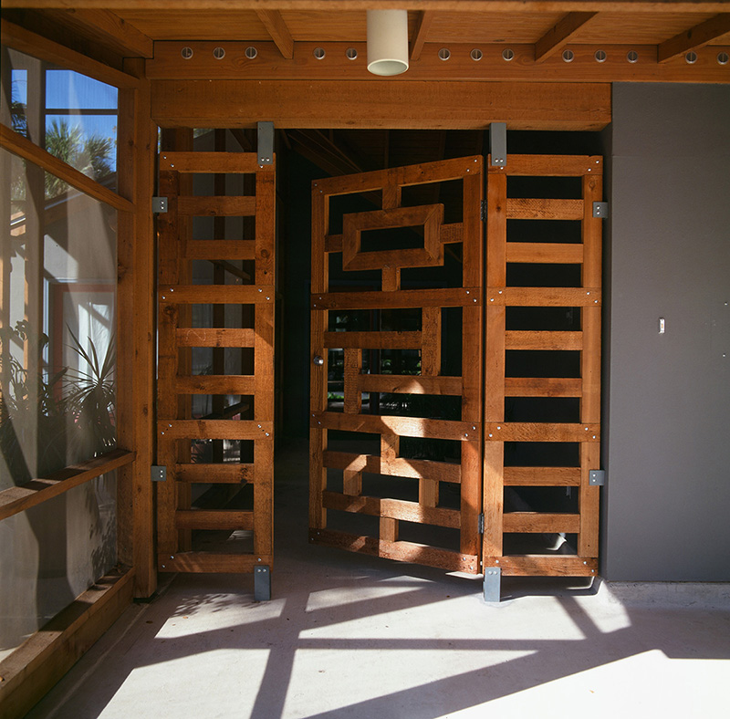 Entry gate, Madison Street Residence, San Antonio, Texas, 1995. Photo by Angela Cousins