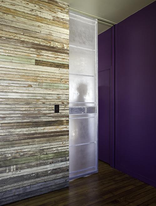 "Aluminum and acrylic sliding door panel, residential loft, ""El Picoso"", San Antonio, Texas, 2008. Photo by Chris Cooper Photography"