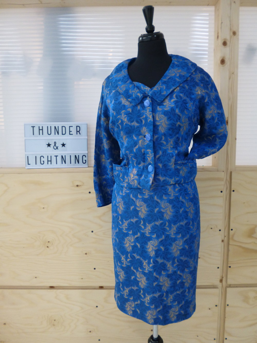 Electric Blue Jacquard Suit Size 14-16