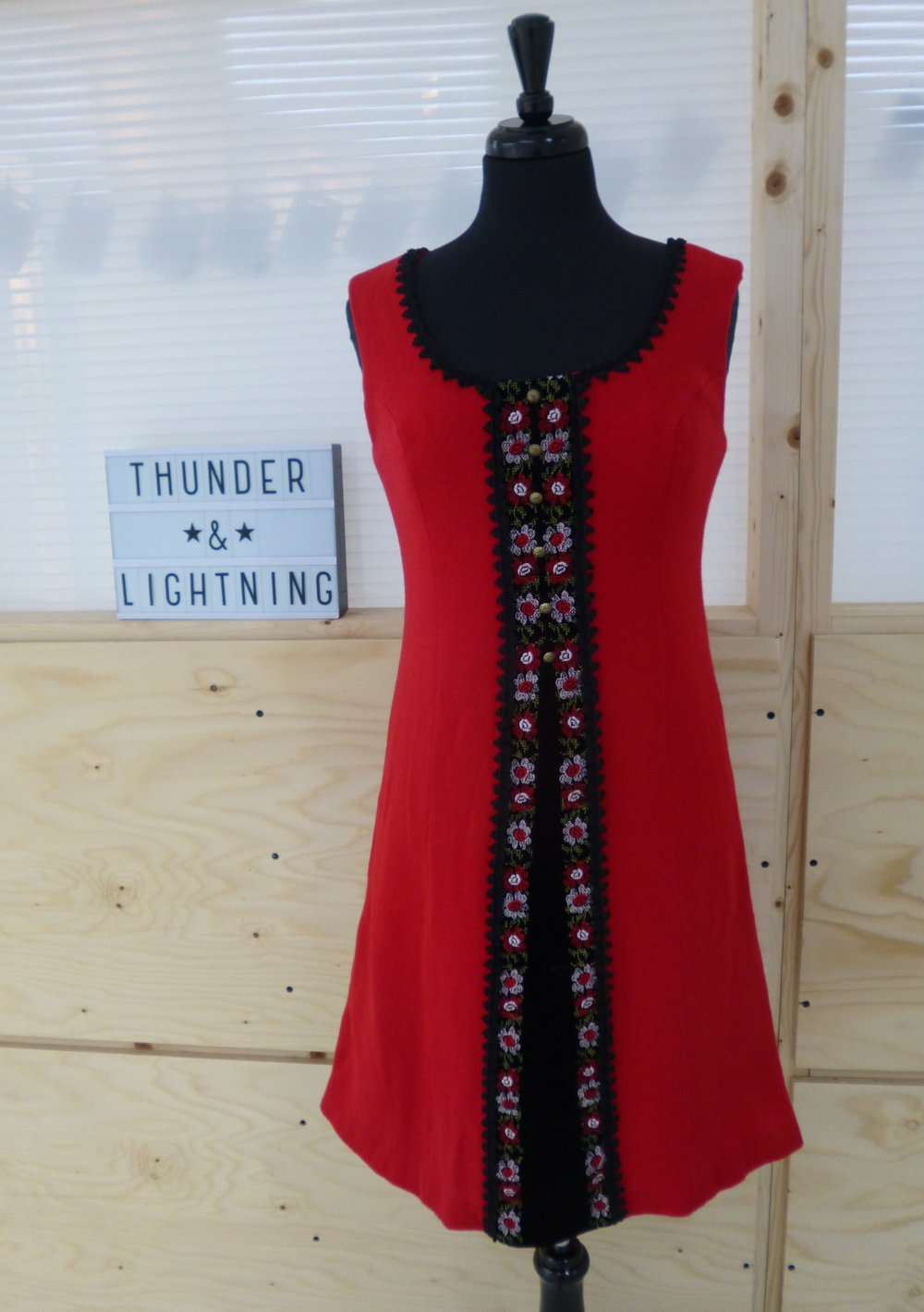 Red Wool Dress with Velvet Trim Size 10-12