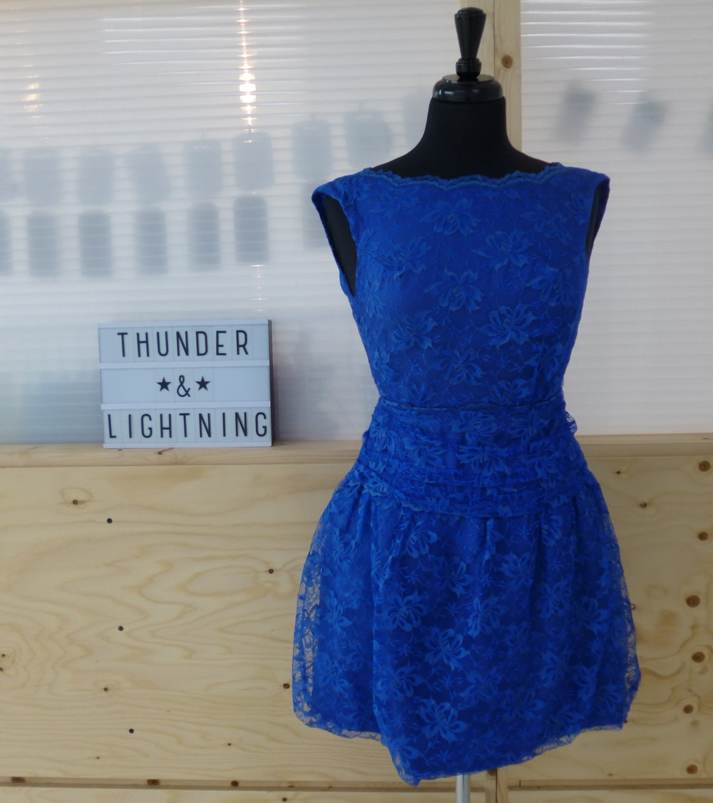 Electric Blue Lace Mini Dress Size 8